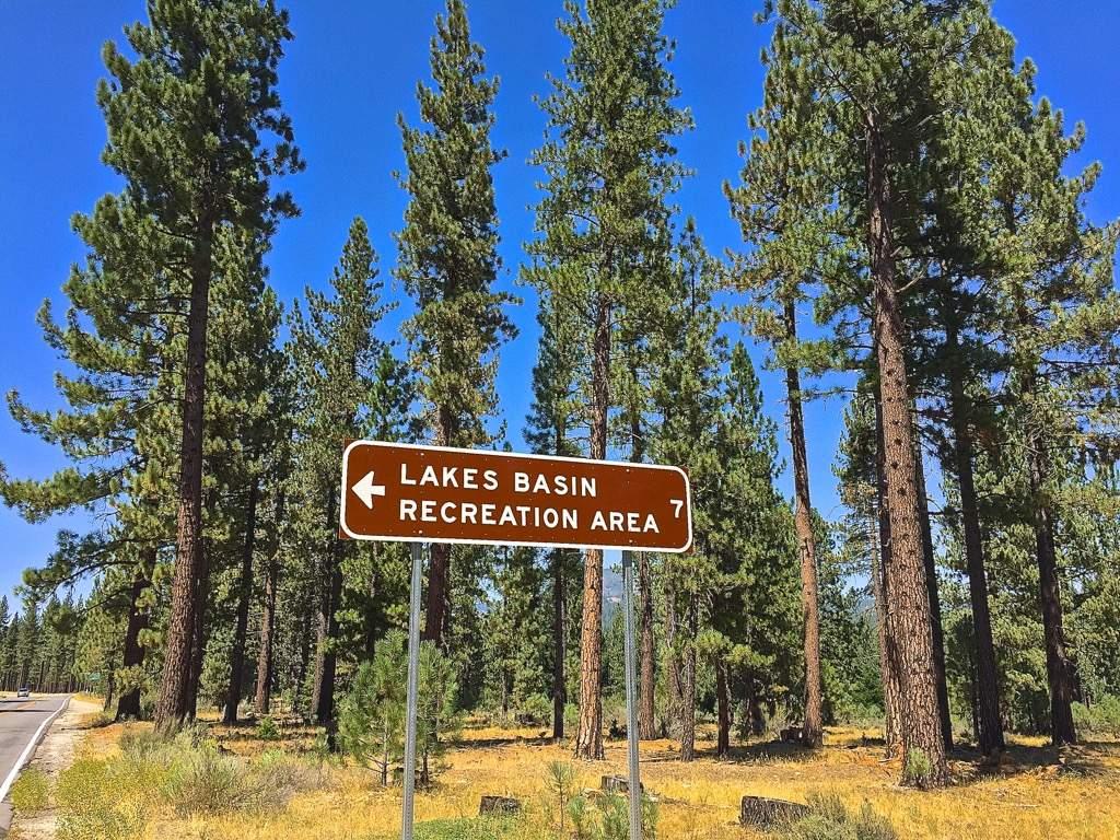 Lakes Basin Rec Area sign